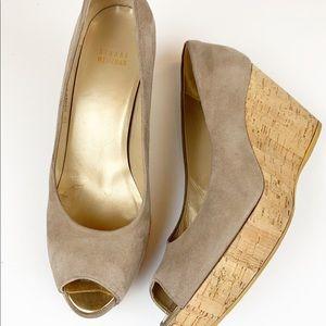 Stuart Weitzman suede cork wedge peep toe sandals
